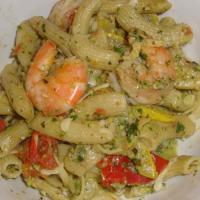 Pasta mit Garnelen und Pistazienpesto