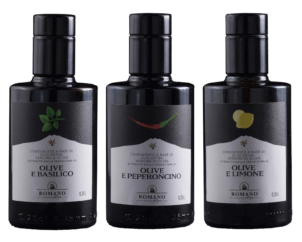 3 Flaachen aromatisiertes Olivenöl
