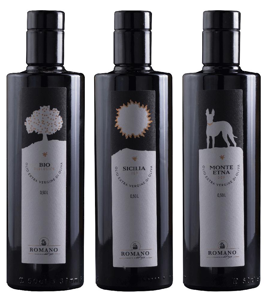 """3 Flaschen Olivenöl der Line """"Romano"""""""